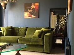 Stourhead Sofa in Moss Green Velvet. This model in a similar fabric can be ordered online. To order it in this fabric call <b>0808 178 3211</b>