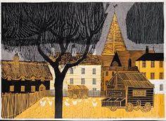 """Kentish Village by Robert Tavener (linocut) Naive Art, Painting & Drawing, Printmaking, Landscape, Drawings, Pretty, Cityscapes, Hands, Artists"