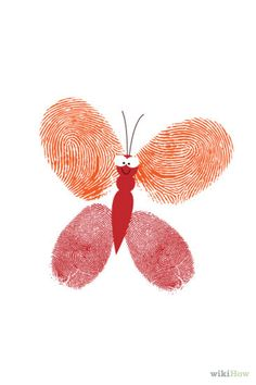 Steps  1To make a butterfly, dip your thumb in some paint. Press it against the paper diagonally, once to the top left and the second to the...