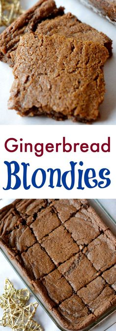 Gingerbread blondies a quick and easy christmas dessert recipe. These are so yummy and perfect for a holiday party. A fun easy Christmas recipe for kids. Love this easy christmas dessert. Brownie Desserts, Oreo Dessert, Mini Desserts, Coconut Dessert, Christmas Desserts Easy, Fall Desserts, Dessert Bars, Just Desserts, Delicious Desserts