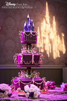Extravagant purple disney cake