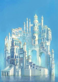 An improbable but none-the-less wonderful flight of architectural fantasy. Beautiful, but all those stairs! Yikes!!!   #fantasyart #CastleintheSky #DreamHome