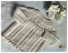 "Baby sweater: ""punto de escama"", ""punto caracol"", ruffles. Body worked sideways. Round yoke picked up lengthwise. ~~ Canastilla artesanal"