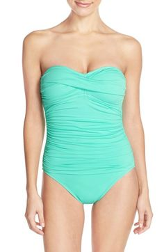 0579152ea0874 La Blanca Twist Front Bandeau One-Piece Swimsuit Girly Outfits