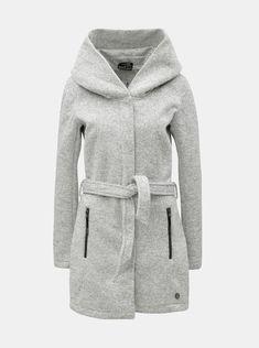 03b28eb73e Typ: podzimní/zimní dámský žíhaný kabát s velkou kapucíBarva: krémová,  černá (výsledný šedý efekt)Zapínání: zip, patentkyKapsy: dvě vnější  Materiál:vnější ...