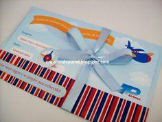 Encanto de papel: Convite tema avião