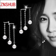 New Fashion Women 925 fine silver earrings simulated pearl protein wavy long paragraph tassel earrings Jewelry manufacturers