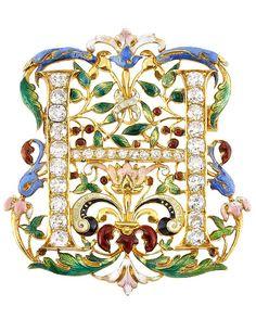 Antique High Karat Gold, Enamel and Diamond Brooch, 22 kt., 20 old-mine cut diamonds ap. 1.80 cts., 10 small old-mine & single-cut diamonds, enamel loss, c. 1900, ap. 13.7 dwts.