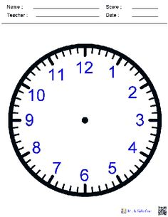 Blank Clock Face Worksheets
