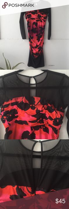 Sz 6 rouched floral black dress Georgeous and sexy! Never worn! maggy london Dresses