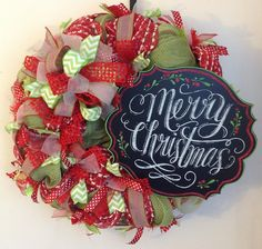 Merry Christmas Chalkboard Mesh Wreath
