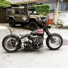 Harley Davidson Bobber and a Land Rover Defender