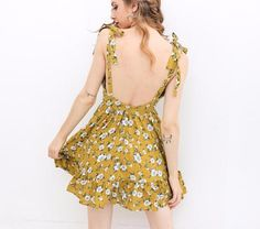 Mustard Yellow Floral Summer Dress
