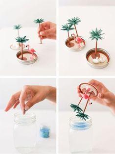 Learn how to make the sunniest summer snow globes via Gray Malin design DIY Design: Summer Snow Globes Pot Mason Diy, Mason Jar Crafts, Diy Snow Globe, Snow Globes, Cute Crafts, Diy Crafts To Sell, Sell Diy, Decor Crafts, Kids Crafts