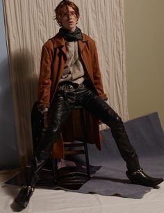 "skynet50: fashion4patrick: Cowboy Serenade by Mel Bles | 10 men magazine, issue 41, SS15 bag, belt, boot chains: from ""Jessie Western"" / bandana: ERMENEGILDO ZEGNA / coat: BERLUTI / ring: from *Wilde Ones* / rings: PEBBLE / shirt: JOHN VARVATOS / trousers: BLK DNM So sexy"