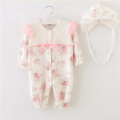 Girls Newborn/Baby Lace Rompers and Hat 2pcs Jumpsuit