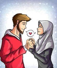 kumpulan anime kartun romantis anyar - my ely Couple Sketch, Couple Drawings, Couple Art, Cute Muslim Couples, Cute Couples, Sarra Art, Islam Marriage, Image Citation, Islamic Cartoon