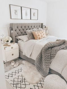 40 Chic Bedroom Decorating Ideas for Teen Girls Teen Room Decor Ideas Bedroom Ch. - 40 Chic Bedroom Decorating Ideas for Teen Girls Teen Room Decor Ideas Bedroom Chic decorating Girls - Teen Room Decor, Room Ideas Bedroom, Cozy Bedroom, Dream Bedroom, Trendy Bedroom, Bedroom Bed, Light Grey Bedrooms, Grey Bed Room Ideas, Light Bedroom