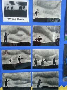 Charcoal WW1 silhouettes Remembrance Day Activities, Remembrance Day Art, Primary School Art, Elementary Art, Classroom Displays, Art Classroom, Ww1 Display, Ww1 Art, Poppy Craft