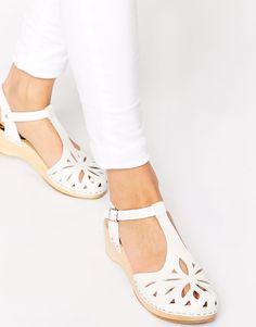 Image 1 of Swedish Hasbeens Lacy Debutant White Mid Heel Sandals - - Swedish Hasbeens, Mid Heel Sandals, Kitten Heel Sandals, Clogs Shoes, Shoes Heels, Stylo Shoes, Cheap Womens Shoes, Pin Up Outfits, Asos