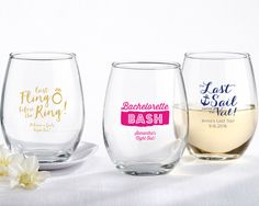 Choose from 3 designs: Last Fling Before The Ring, Bachelorette Bash, Last Sail Before The Veil, with a variety of colors you will find the perfect bachelorette party favor! | Personalized Bachelorette Party Stemless Wine Glass - Exclusive Designs
