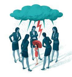 Editorial illustration for Psychologies magazine. #editorial #illustration #clouds #colleagues #workers #work #office #meeting #magazine #art #lightning #psychology #coaching