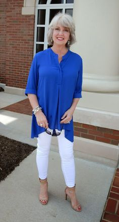 Fifty, not Frumpy: I have two pair of white leggings and many others as well. This handkerchief blouse makes me feel I could pull it off (the look!).