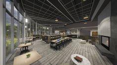 Conceptual Lobby Cafe Design for Fairfax Community Church - Fairfax, VA // Design and Rendering by Equip Studio (www.equipstudio.com)