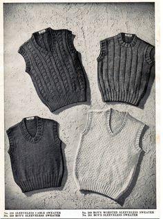 Vintage Boy's Sleeveless Sweaters Knitting Patterns PDF (Set of / Boy's knitted vest pattern / Boys cable vests pattern / PDF pattern An adorable set of 4 knitting patterns for boys sleeveless sweaters from the You will receive a PDF knitting patt. Knitting Patterns Boys, Knitting For Kids, Baby Knitting, Knitting Needles, Knit Vest Pattern, Sweater Patterns, Vintage Boys, Yarn Shop, Baby Sweaters