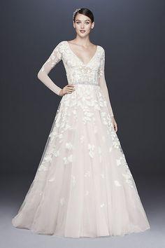 c8867c1cbd4c2 Illusion Sleeve Plunging Ball Gown Wedding Dress Style SWG820, Ivory, 2