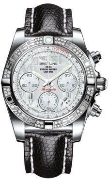 Breitling Chronomat 41 Steel Diamond Bezel Lizard Strap Tang AB0140AA/A746