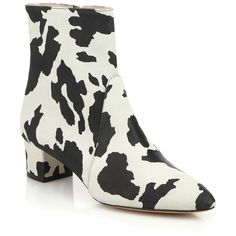 Boutique Moschino Cow-Print Leather Booties (1.575 BRL) ❤ liked on Polyvore featuring shoes, boots, ankle booties, apparel & accessories, side zip ankle boots, print boots, ankle boots, short leather boots and short boots