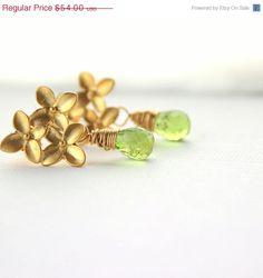 Fourth of July Sale green peridot gold flower bouquet earrings August birthstone. $43.20, via Etsy.