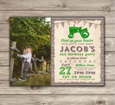 Photo Birthday Invitation Boy Red Tractor, Rustic Wood Country Farm Tractor Theme, Any Age Boy Birthday Digital/Personalized Birthday Themes For Boys, Farm Birthday, Boy First Birthday, Birthday Photos, 2nd Birthday Parties, Birthday Ideas, Tractor Birthday Invitations, Country Themed Parties, Alice