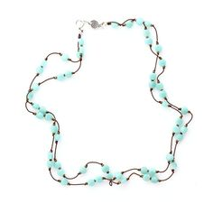 Petit Amazonite Faceted Dimes Necklace Hand Knotted on Silk Cord, Light Blue Gemstone, Amazonite Coins, Turquoise Beads, Summer Necklace