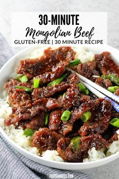 This Gluten Free 30-Minute Mongolian Beef is a savory, sweet, & delicious dinner recipe!! With thinly cut steak, soy sauce, brown sugar, fresh garlic and ginger. #TasteAndSee