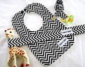 Black and White Chevron Baby Gift Set with Pacifier Clip, Sophie Leash Toy Tether and Minky Bib