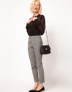 Super Skinny Trousers In Herringbone Print sleek