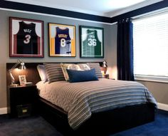 Neutral color with contrast colors. Different jerseys. Teens Room, Mesmerizing teen boy room ideas black wood platform bed black wood nightstand light blue cotton striped comforter