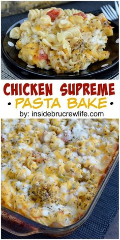 A pan of Chicken Supreme Pasta Bake is comfort food to the max. This easy, cheesy pasta bake comes together quickly when you combine pizza toppings with pasta and cheese. Think Food, I Love Food, Good Food, Yummy Food, Tasty, New Recipes, Dinner Recipes, Favorite Recipes, Healthy Recipes