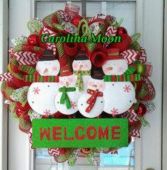 Welcome Snowmen Christmas Wreath Red Lime Green Stripe Deco Mesh Snowmen Welcome Wreath with Ribbon Streamers and Christmas Balls