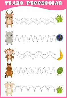 Tracing Worksheets, Preschool Worksheets, Preschool Activities, Diy, Wild Animals, Motor, Home, Kids Learning Activities, Preschool Alphabet Activities