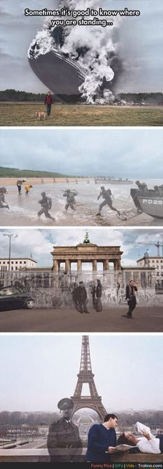 """This is awesome! History Channel """"Know Where You Stand"""" campaign by Seth Taras - Hindenburg at Lakehurst, New Jersey 1937 / D-Day at Normandy Beach 1944 / Berlin Wall at the Brandenburg Gate 1989 / Hitler at the Eiffel Tower, Paris 1940 / 2004 Zeppelin, Montage Photo, Picture Day, Interesting History, History Facts, Funny History, History Memes, History Photos, Creepy History"""