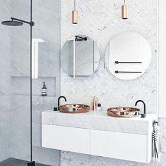 COPPER + MATTE BLACK + MARBLE= TUESDAY BATH INSPO  . . . . . Pic via unknown #interiordesignidea #interiordesigners #inspiration #whiteinteriors #homestyling #nordic #homestyle #designer #interiordecorator #interiordesigner #homedecor #brandrep #productstylist #inspire #design #goals #interiorgoals #interior #design #decor #interiorforyou #scandinavian #industrial #interiordesign #greenery #bathroom #white #marble #copper #interior4all