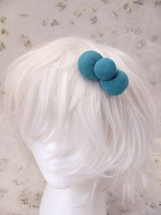 Deep aquamarine turquoise Puffy Foam Bow on a Hair Clip On a hair clip, this lightweight hand made bow is very cute for anyone.    Contact artist if interested for bow on alice headband