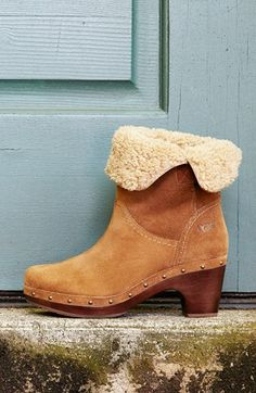 Love this rustic shearling bootie