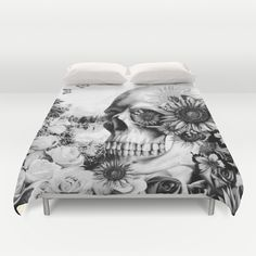 Buy ultra soft microfiber Duvet Covers featuring Reflection by Kristy Patterson Design. Hand sewn and meticulously crafted, these lightweight Duvet Cover vividly feature your favorite designs with a soft white reverse side. Skull Decor, Skull Art, My New Room, My Room, Spooky Halloween Decorations, Smart Tiles, Gothic House, Home And Deco, Skull And Bones
