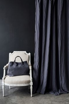 black washed linen curtain #naturalcurtaincompany