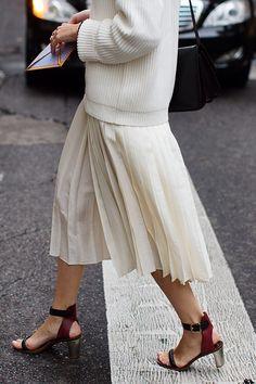 white pleats