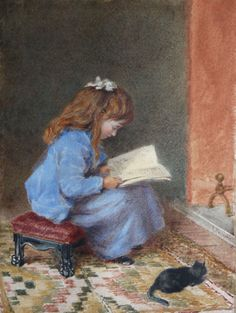 "James Pelham, ""Young Girl and her Kitten Reading by a Fireside"""